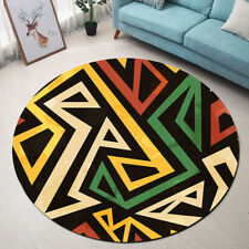 Round Floor Mat Colorful African Geometric Pattern Bedroom Living Room Area Rugs