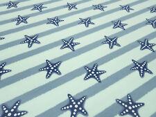 Stoff Baumwolle Jersey Seestern Streifen mint blaugrün blau Kleiderstoff Maritim