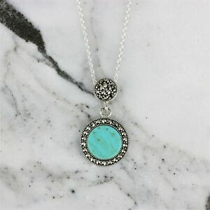 Sterling Silver 925 Marcasite Turquoise Double Drop Circle Halo Necklace Pendant