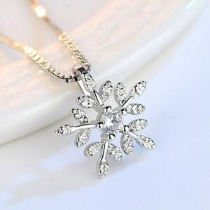 925 Sterling Silver Woman Necklace Snowflake Pendant Fashion Jewelry New