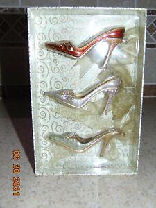 """High Heeled Shoe Christmas Ornaments  2""""high-4""""long Jeweled Set of 3"""