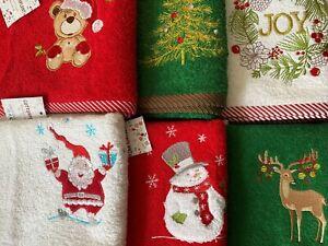 Premium Hand Kitchen Tea Towel Christmas Embroidered Guest Souvenir 100% Cotton