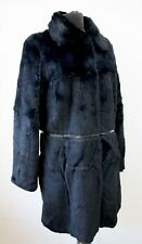 ESSENTIEL ANTWERP Rabbit Lapin Fur Coat Patent Leather Trim EU 42 UK 14