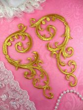"Embroidered Appliques Gold Mirror Pair Iron On Patch Scroll Set 6.75"" (Gb401)"