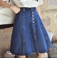 New Womens Sweet Girls Denim Jeans Skirts Slim High Waist CasualAa-Line Button