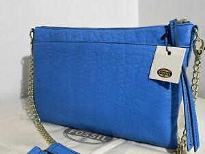 FOSSIL SYDNEY TOP ZIP CHAIN BLUE LEATHER HANDBAG SHOULDER CROSS BODY BAG NEW!!!
