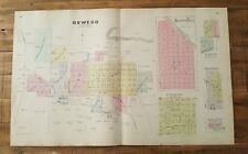 Antique Colored MAP - OSWEGO, NEOSHO FALLS, & BUTLER CITY - 1887 KANSAS ATLAS