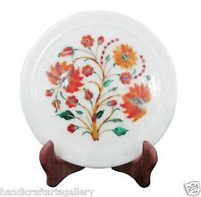 "7"" White Marble Plate Carnelian Floral Art Inlay Kitchen Decorative Gifts  H1417"