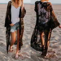 Women Lace Kimono Blouse Coat Boho Casual Cardigan Beach Bikini Cover Up Tops