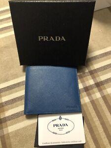 Portafoglio Wallet Prada Saggiano Blu Cobalto Originale Nuovo