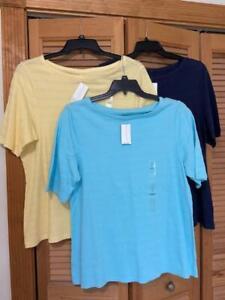 CHARTER CLUB Womens Size 1X ~ 3 summer Pima Cotton Short Sleeve T Tee Shirts