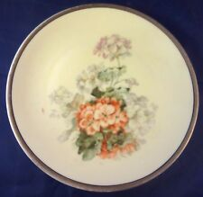 "THREE CROWN (Germany) Geranium Blossom 8 1/8"" Hand Painted Plate"