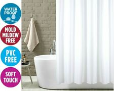 Polyester Shower Curtain Plain White Extra Wide Extra Long Standard W Hooks Ring