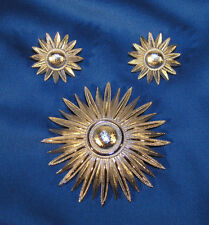 Vintage Trifari Brooch & Earrings Set - Modernist Sunburst Flower in Silvertone
