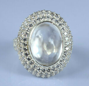 14.48 Ct Natural Padparadscha White Sapphire 925 Silver Ring With Accents