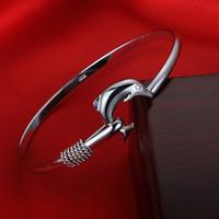 Fashion 925 Silver Plated Dolphin Bangle Women Charm Cuff Bracelet Jewelry Gift