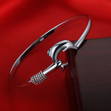 Fashion Women Dolphin Clasp 925 Sterling Silver Cuff Bangle Charm Bracelet Gift