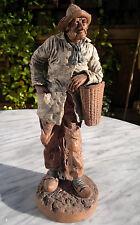 """19thC ANTIQUE terre cuite sculpture vieux pêcheur Figurine ~ signé ~ 11.5"""" Tall"""