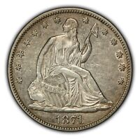 1871 50c Seated Liberty Silver Half Dollar - Luster - AU Details - Lot#B070