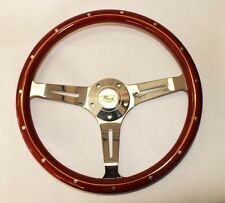 """Wood Steering Wheel 14"""" Classic Style Fits Ididit Flaming River Column Ford Cap"""