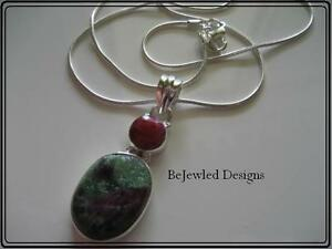 Ruby Zoisite & Royal Ruby 925 Sterling Silver Pendant Necklace
