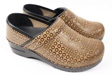 SANITA Professional Pro Brown Suede Leather Circle Shoe Cute Clog Women 37 6.5 7