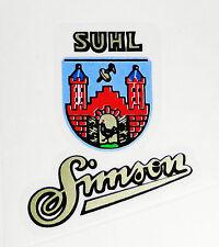 Suhler Wappen mit Simson Aufkleber Schriftzug Klebefolie pass AWO SR1 SR2 SR2E
