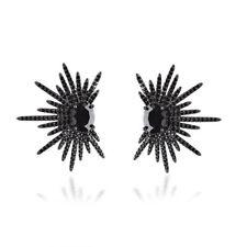 MATERIA Damen Ohrstecker Sterne Silber 925 Zirkonia schwarz rhodiniert mit Box