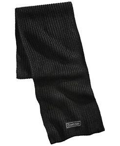 Calvin Klein Men's Cardigan-Ribbed Logo Scarf Black