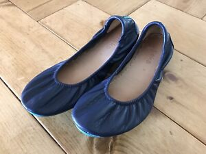 Tieks By Gavrieli Navy Leather Casual Ballet Flats Slip On Shoes Size 8
