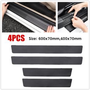 4 Pack Carbon Fiber Leather Car Door Plate Sill Scuff Cover Anti Scratch Sticker
