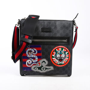 Gucci Night Courrier Messenger Bag Black GG Supreme Patch Men's