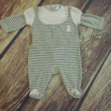 Shimos pima cotton velour striped stetchy footie babygro sleeper size 6 mo