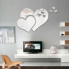 3 Love Heart Mirror Tiles Kitchen Wall Sticker Stick on Decal Home Bedroom Decor