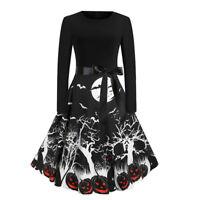 Womens Halloween Swing Dress Long Sleeve Pumpkin Retro Party Fancy Skater Dress
