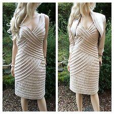 MASCARA Size 12 Champagne Pintuck Pleat Luxury DRESS + BOLERO Wedding rrp £225