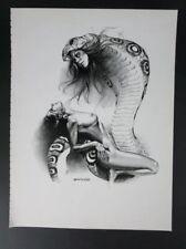 Boris Vallejo Vintage Art Nude Woman Riding Snake Fantasy Print Cobra Fangs 1982