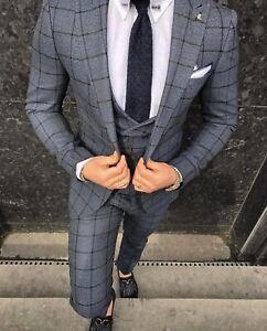 Slim Fit Herrenanzug in Blau/Grau mit Weste-Anzug-Hochzeit-Bühne-Sakko-Smoking
