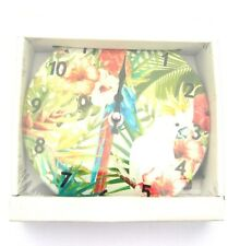 White Cockatoo and Parrot Sitting in A Tropical Tree Glass Wall Clock 16.5 CM