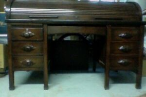 Antique 100 year old mahogany roll top desk