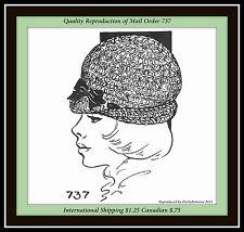 CROCHETED DERBY HAT Stylish Mail Order Pattern #737 Ladies Misses VINTAGE