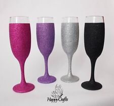 Glitter Full Champagne Flute Glass Set of 4 Pink Purple Silver Black