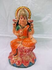 Antique Pottery Terracotta Mud Hindu Goddess Lakshmi Sitting Figure Idol Statue