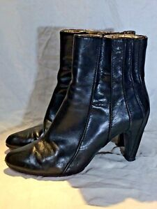 Tsubo booties Ankle boots Black leather Red sole High Heel 38.5 pointed Toe 8.5