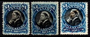 CANADA BILL STAMP #FB52 $1 SET/3, 1868 QV PERF12,PERF12 THIN PAPER, PERF11½