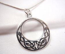Round Celtic Pendant Circle in Circle 925 Sterling Silver Corona Sun Jewelry