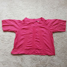 GA/01 Ladies Rich Pink Top Short Sleeve Crochet Cotton Blend Plus Size 22 VGC