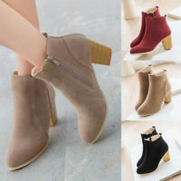 NEW Womens Winter Artifical Suede Casual Faux Fur zipper Ankle Boots Thick Heel