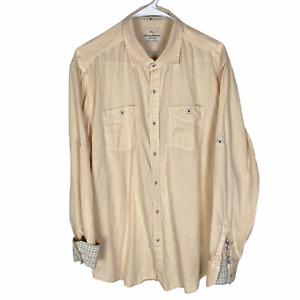 Tommy Bahama Island Modern Fit Button Shirt Men's Large Orange Tencel Cotton