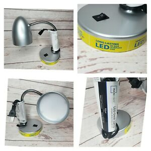New Silver LED Desk Table Top Lamp Light 3.5W Long-Lasting Flexible Gooseneck